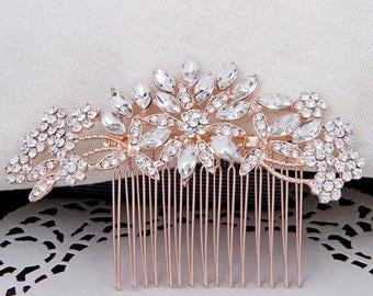 Bridal Hair Comb Rose Gold Crystal Bridal Combs for Wedding Rhinestone Bridal Headpiece Bridal Hair Accessories Rose Gold Bridesmaid Gift