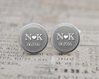 Custom Cufflinks, Groom Cuff Links, Groomsmen Gift, Gift for the Groom, Personalized Wedding Jewelry