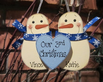 Personalized Snowmen Couple Ornament - Our 3rd Christmas