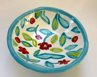 whimsical pottery Serving Bowl w/ polka-dots, feet, hand-painted turquoise, red & green summer flowers