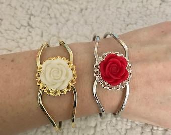 Rose Medallion Hinge Bracelets
