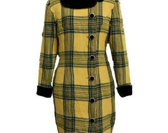 Vintage Scottish Yellow Coat Dress