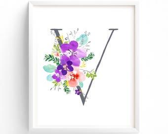 Purple Floral Printable Letter V Monogram, Floral, Grey letters,  Flower Lettering, Nursery, Plum, Purple, Baby monogram