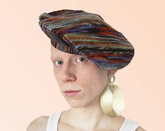 90s Textile Junkie Colorful Beret Felted Yarn Lustre vintage cutie artgirl avant-garde