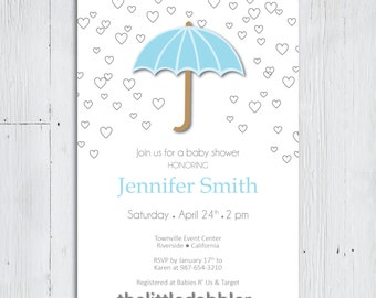 Printable Blue Umbrella Baby Shower Invitation -- Baby Sprinkle Umbrella Spring Rain Shower Mom With Love Hearts Party -- PNG & JPG