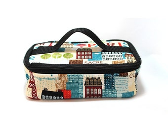 Cosmetic bag, makeup case, brush case, travel bag, project case - Hello Paris