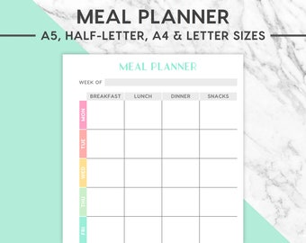 NEW! MEAL PLANNER Printable | Pastel, A5, Half-Letter, A4, Letter, Meal Planning, Meal Plan, Food Plan, Food Planner