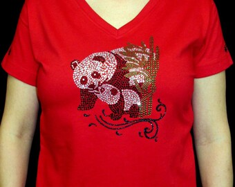 Rhinestone Panda Bear and Cub Custom Women's Cute Fun Glitter Cool  Bling  V-neck T shirt Cindy's Handmade Shirts Boutique
