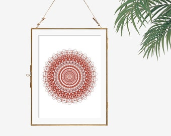 Marsala decor wall art prints modern art geometric poster mandala art living room decor red and white decor office decor circle art print