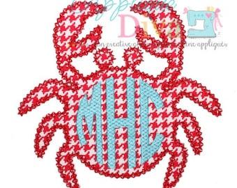 Summer Simple Monogram Crab Digital Embroidery Design Machine Applique