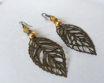 Bronze Leaves earrings, dangly earrings, drop leaf earrings, bronze boho earrings, long earrings, gift for her, UK shop