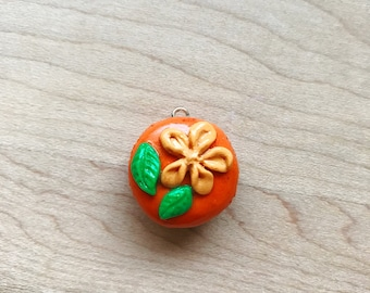 polymer clay macaroon  charm | flower,leaves,food,orange,dessert,macaroon,handmade,polymerclay,clay,charms,tiny,cute,sweet,trendy,jewelry