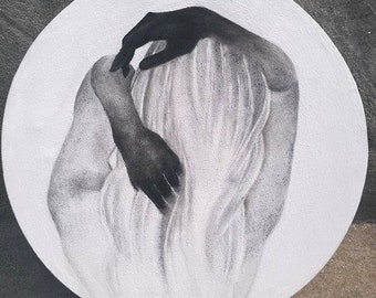 Original Charcoal girl drawing on Round canvas,charcoal art,Realistic drawing,classic art, charcoal sketch made by fatima, free shipping