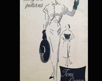 Vintage 50s Toni Owen Spadea Designer Strapless Blouse Tulip Bolero Suit Sewing Pattern 1014 B30