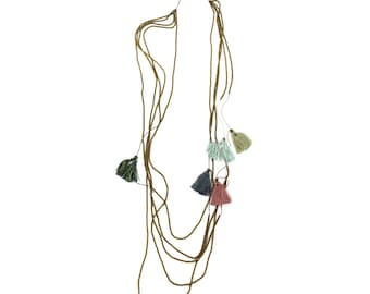 30% OFF Prana necklace (warm breeze) - fun and funky mix of colored tassels on a long antiqued gold beaded cord - so SIMPLE and bohemian