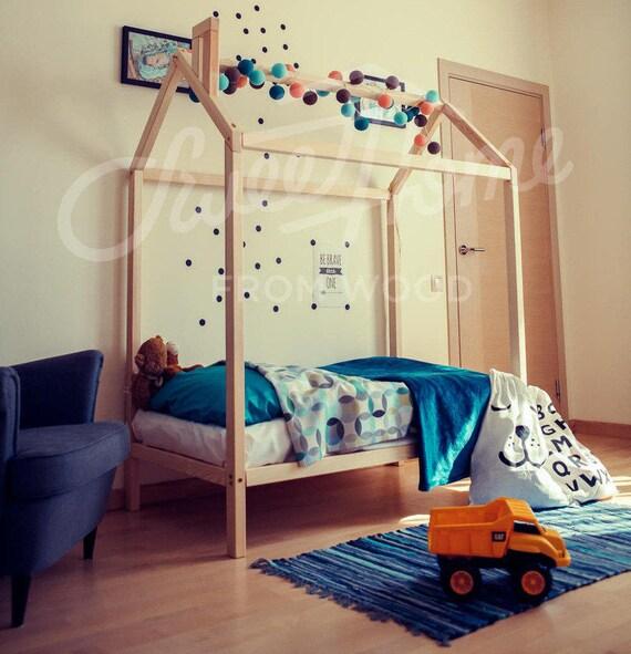 Cama de niño casa cama doble tamaño cama marco Montessori