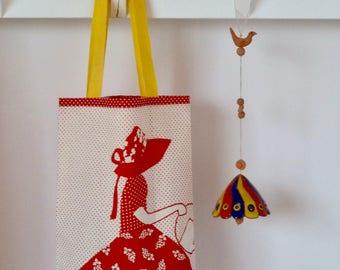 Tote bag for children/toy bag. Vintage fabric