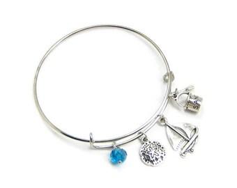 NAUTICAL Charm Bracelet, Silver Adjustable Bangle, Aquamarine Crystal Jewelry, Sand Dollar, Sailboat & Pail, Gift Under 20, 3 Petunia Place