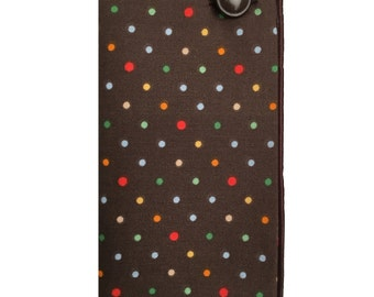 Brown and Multicolored Polka Dot Pocket Square