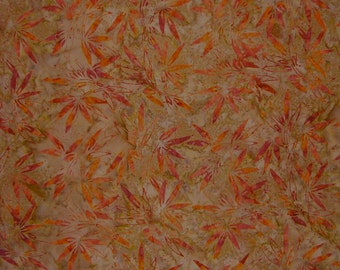 Taupe and Orange Leaf Motif Batik Pure Cotton Fabric--One Yard