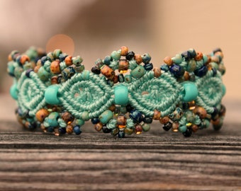 Micro-Macrame Beaded Cuff Bracelet - Turquoise Blue Picasso