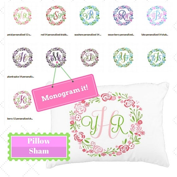 Custom Monogram Pillow Sham 12x16  Preppy Monogram Pillow Gift, Nursery Accent Pillow, Dorm Decor, Shabby Chic Floral Wreath