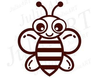 cartoon cute bee outline logotype vector image