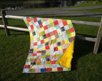 Patchwork Quilt, Classic Americana --lap, full, queen--cotton patchwork quilt, cotton blanket, retro patchwork quilt, scrappy, vintage vibe