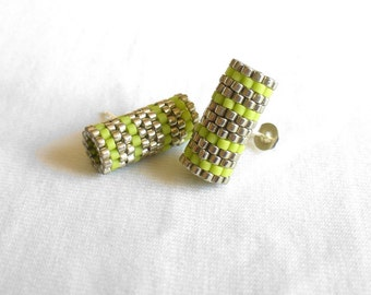 Beaded Stud Earrings, Lime Green & Silver Earings, Peyote Tube Earrings, Striped Silver Ear Studs, Minimalist Post Earrings - Etsy UK Seller