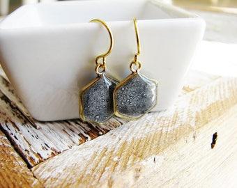Gray Hexagon Earrings, Modern Earrings, Geometric Earrings, Minimalist Earrings, Hexagon Dangle Earrings, Resin Earrings, Resin Jewelry