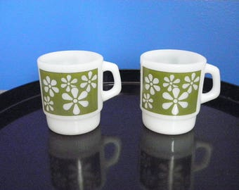 Vintage Fire King Green Daisy Milk Glass Mugs - Set of 2 - 1960s - USA
