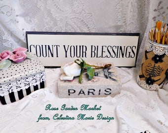 Count Your Blessings Wood Wall Sign, Hand Cut Wood, Hand Painted, Stenciled, Wall Art, Home Decor, Farmhouse Wall Sign, ECS