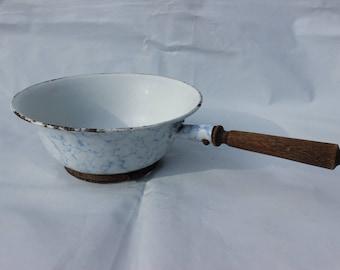 Vintage enamel flour sieve French marbled farmhouse style rare