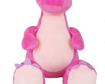 Big Sister Stuffed Animal | Flower Girl Gift | Personalized Birthday | Baby Shower Gift | Stuffed Pink Dinosaur Cubby | Valentines