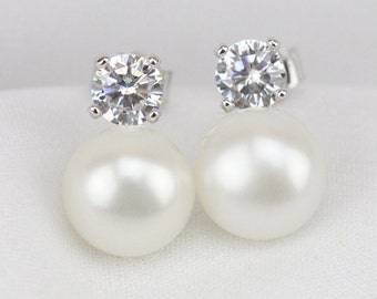 White genuine freshwater real pearl earring stud,Cubic Zirconia Diamond Stud Sterling Silver pearl stud earring,button wedding pearl earings