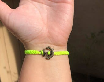 Neon Yellow Anchor Friendship Bracelet