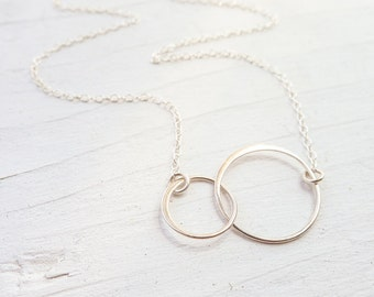 2 Circle Necklace Two Circle Necklaces Interlocking Ring Pendant Sterling Silver Circle Jewelry Eternity Gifts for Women Wedding Jewelry