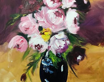 Handmade Acrylic Painting On Stretched Canvas 16x20, Flowers In A Vase, Wall Art, Home Decor, Holiday Gift