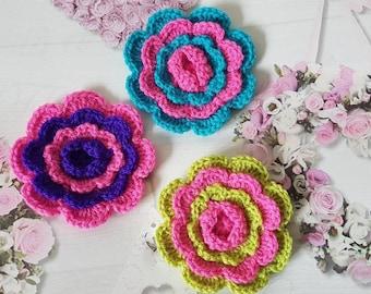 Crochet Flower Applique Sewing applique Scrapbooking Card Making Applique Pink