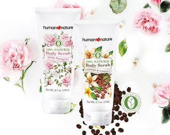 Human Nature Certified 100% Natural Body Scrub in Coffee & Vanilla, Plastic Microbead-free