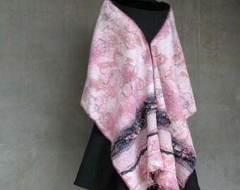 """Nuno felt shawl scarf """"Floral Rhapsody"""""""