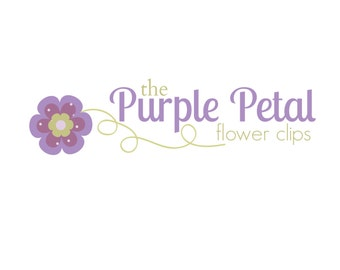 Premade Logo - Boutique Purple Flower Logo - Hair Clips Boutique Etsy Logo - Branding Design - Digital Logo - Watermark - Girly Purple Logo