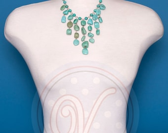 Turquoise nugget cascade Necklace