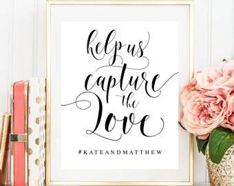 Wedding hashtag sign Editable template Wedding activities Help us capture the love Social media wedding sign Summer wedding decor #vm31