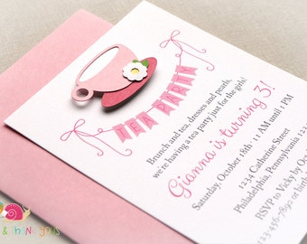 Tea Party Invitations · A2 FLAT · Pink and Strawberry · Birthday Party | Baby Shower | Teacup