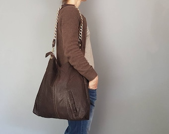 Slouchy, Simple, Sophisticated, OOAK Upcycled Leather Bag, Embossed Leather Radness