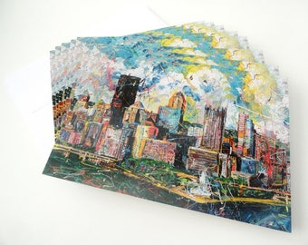 Pittsburgh Skyline art, notecards, Pittsburgh Skyline, Greeting Cards by artist Johno Prascak, Johnos Art Studio
