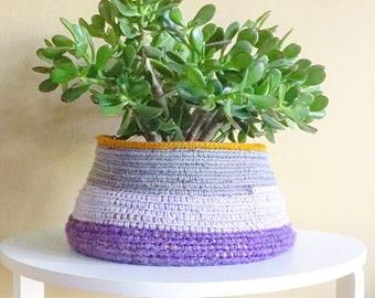 Crochet Basket- Purple Lilac and Grey Home Decor- Planter Basket - Home and Garden- Bohemian Interior Design- Boho Decor- Indoor Garden