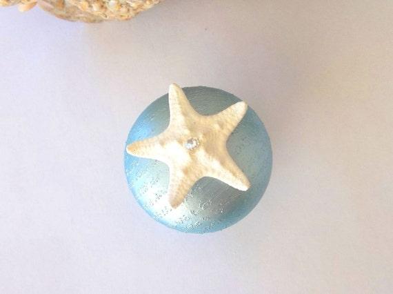 Starfish Knob Cabinet / Door Knobs Pulls W Swarovski Crystals Beach  Nautical Coastal Sea Ocean Decor Furniture Hardware Pearlized Blue From ...