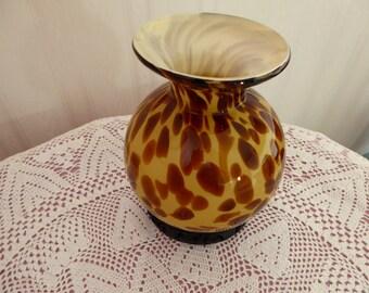 """Vintage Tortoise Shell Glass Vase 7 1/8"""" Tall"""